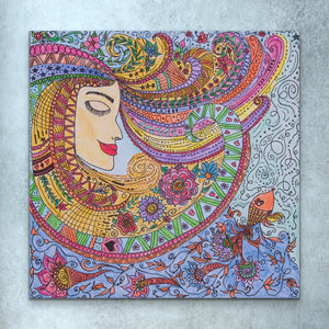 Lady Zendoodle Drawing | Giclee Wrapped Canvas - Teresa Andre Art