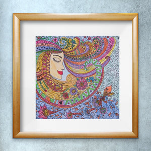 Lady Zendoodle Drawing | Paper Art Print - Teresa Andre Art