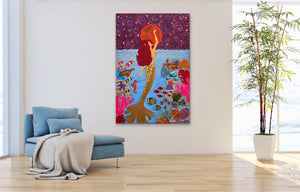 Mermaid Painting With Moon | Giclee Rolled Canvas - Teresa Andre Art