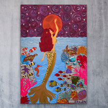 Load image into Gallery viewer, Mermaid Painting With Moon | Giclee Rolled Canvas - Teresa Andre Art