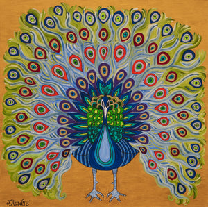 Colorful Peacock | Paper Art Print - Teresa Andre Art