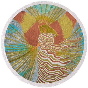 Angel Of Light - Round Beach Towel - Teresa Andre Art