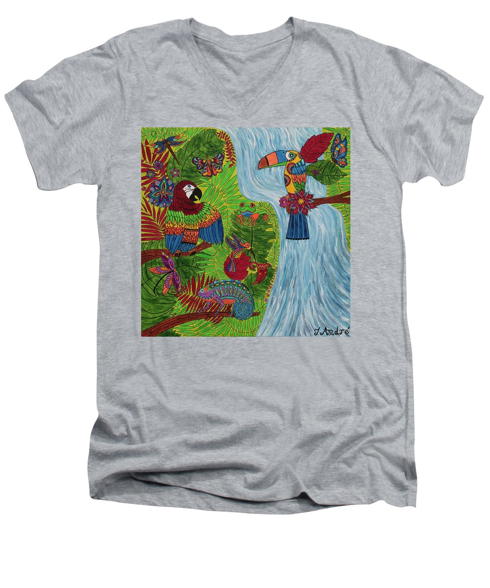 Costa Rica Jungle - Men's V-Neck T-Shirt - Teresa Andre Art