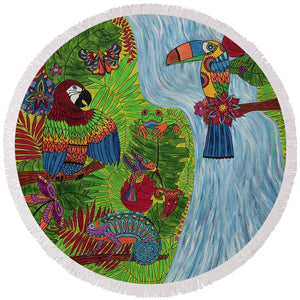 Costa Rica Jungle - Round Beach Towel - Teresa Andre Art