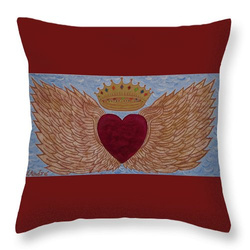 Heart With Wings - Throw Pillow - Teresa Andre Art