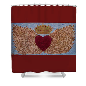 Heart With Wings - Shower Curtain - Teresa Andre Art