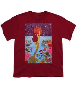 Mermaid Painting With Moon - Youth T-Shirt - Teresa Andre Art