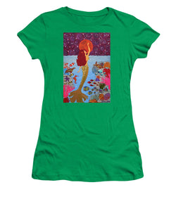 Mermaid Painting With Moon - Women's T-Shirt - Teresa Andre Art
