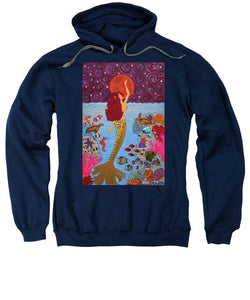 Mermaid Painting With Moon - Sweatshirt - Teresa Andre Art