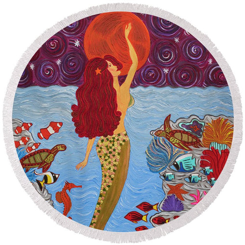 Mermaid Painting With Moon - Round Beach Towel - Teresa Andre Art