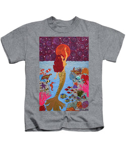 Mermaid Painting With Moon - Kids T-Shirt - Teresa Andre Art