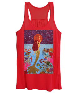 Mermaid Painting With Moon - Women's Tank Top - Teresa Andre Art