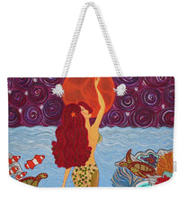 Load image into Gallery viewer, Mermaid Painting With Moon - Weekender Tote Bag - Teresa Andre Art