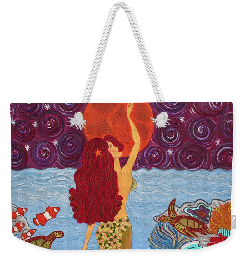 Mermaid Painting With Moon - Weekender Tote Bag - Teresa Andre Art