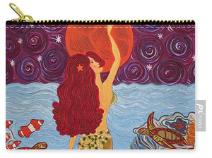 Mermaid Painting With Moon - Carry-All Pouch - Teresa Andre Art