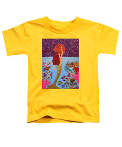 Mermaid Painting With Moon - Toddler T-Shirt - Teresa Andre Art