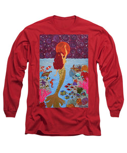 Mermaid Painting With Moon - Long Sleeve T-Shirt - Teresa Andre Art