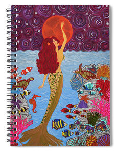 Mermaid Painting With Moon - Spiral Notebook - Teresa Andre Art