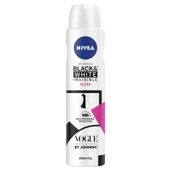 Invisible Black & White Clear Antiperspirant Aerosol Deodorant Limited Edition 250ml