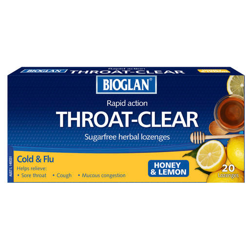 Bioglan Throat Clear Honey & Lemon Lozenges 20