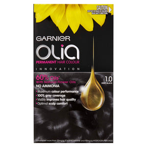 Garnier Olia Permanent Hair Colour - 1.0 Deep Black (Ammonia Free, Oil Based)
