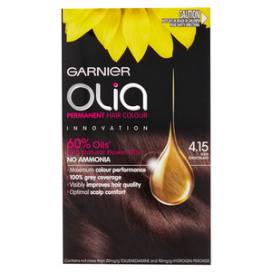 Garnier Olia Permanent Hair Colour - 4.15 Iced Chocolate (Ammonia Free, Oil Based)