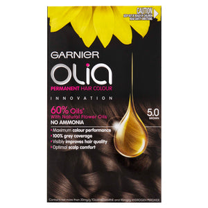 Garnier Olia Permanent Hair Colour - 5.0 Brown (Ammonia Free, Oil Based)