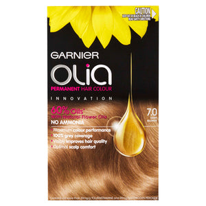 Garnier Olia Permanent Hair Colour - 7.0 Dark Blonde (Ammonia Free, Oil Based)