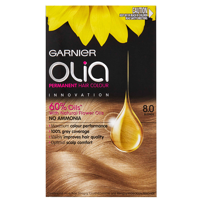 Garnier Olia Permanent Hair Colour - 8.0 Blonde (Ammonia Free, Oil Based)