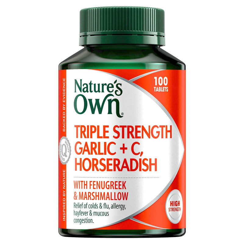 Natures Own Triple Strength Garlic + C & Horseradish 100 Tabs