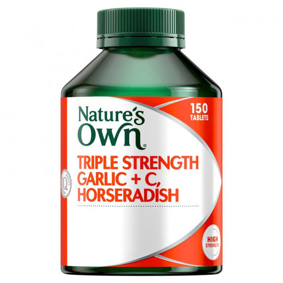 Natures Own Triple Strength Garlic + C & Horseradish Tablets 150 Tabs