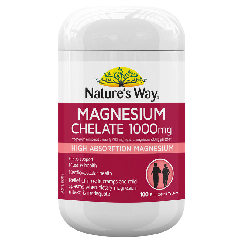 Natures Way Magnesium Chelate 1000Mg 100 Tabs