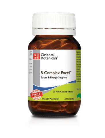 Oriental Botanicals B Complex Excel High-strength B-vitamins alongside theanine from standardised green tea extract alpha lipoic acid