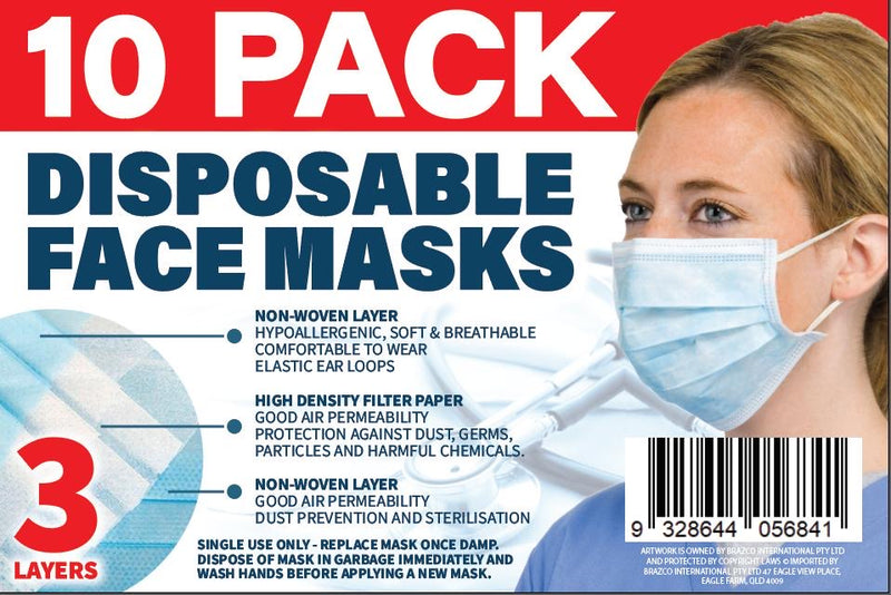 10 Pack Disposable Face Masks, 3 Layers