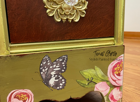 Texas Gypsy Style ~ Birds and Butterflies Painted Desk Vanity