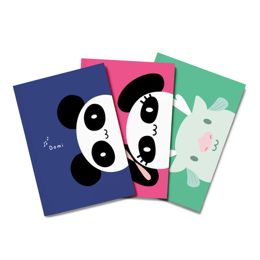 Panda Corner Composition Notebook - Set of 3