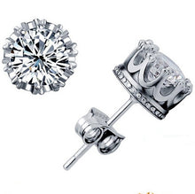 Load image into Gallery viewer, Women's Silver and Gold Crystal Jewelry Earring double