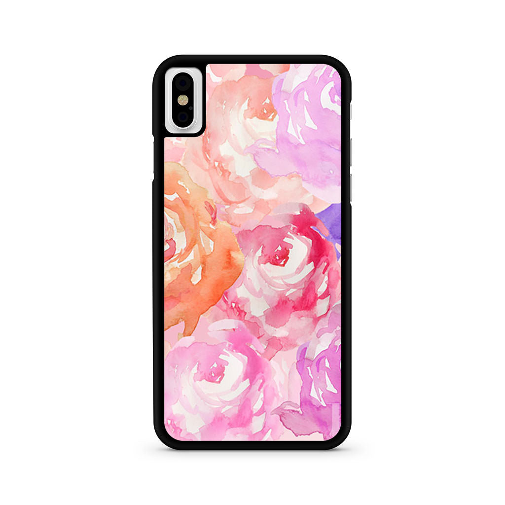 Flower Pattern Water Color iPhone X case