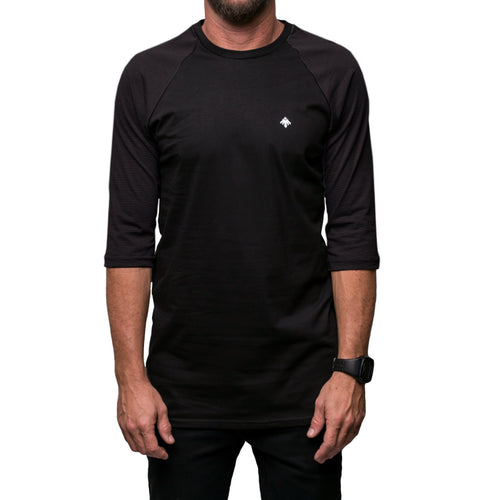 3/4 Sleeve Black Baseball Shirt
