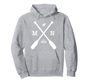 Minnesota Pullover Hoodie Moose and Paddles 1858 Midwest a44ebc865