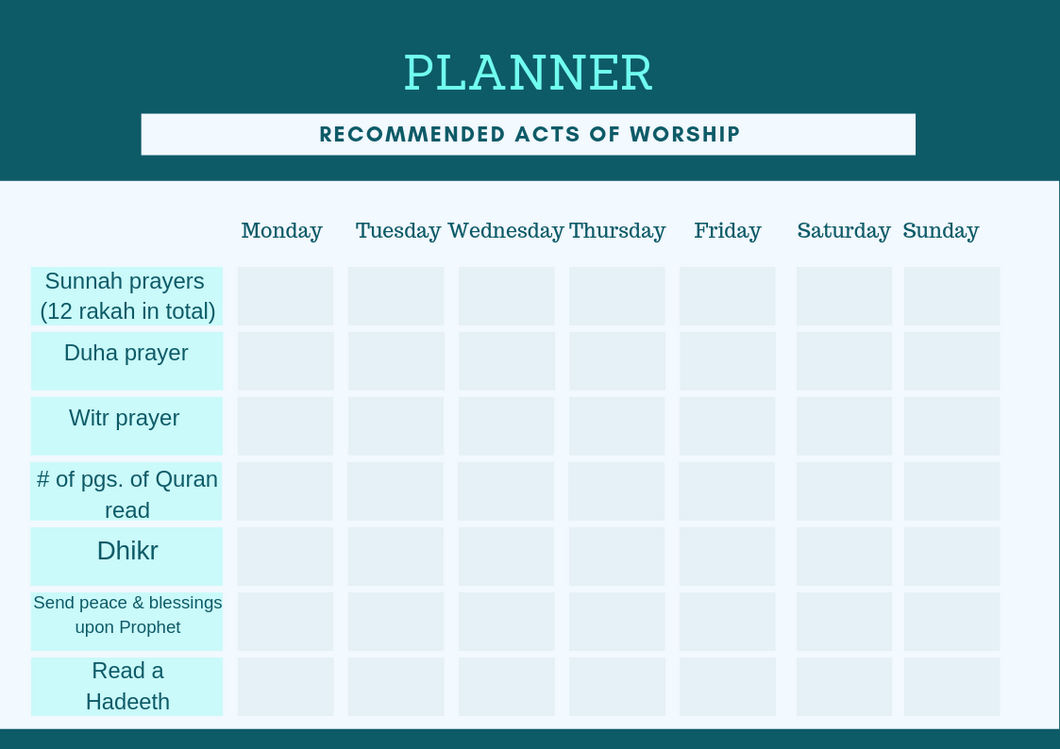Free Planner, Acts of Worship (English)