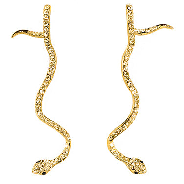 Long Snake Earrings Gold | Snake Theme