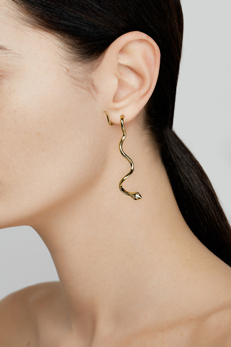Long Snake Basic Earrings Black