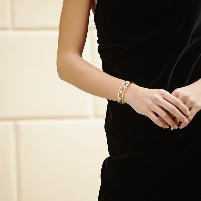 Two Tone Ball Bangle Gold