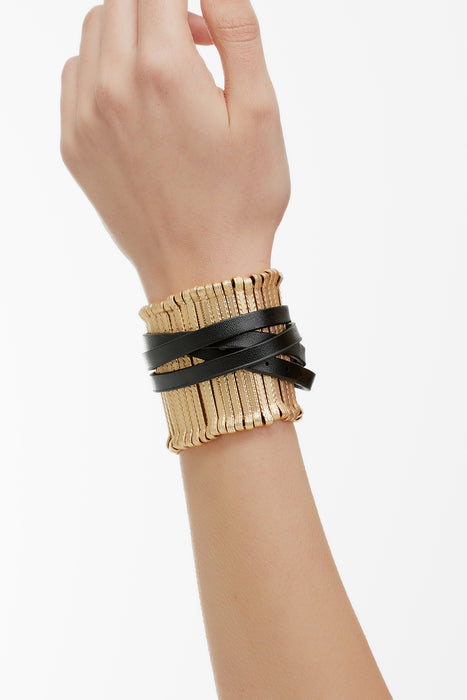 Stick Leather and Metal Bangle Black Matt