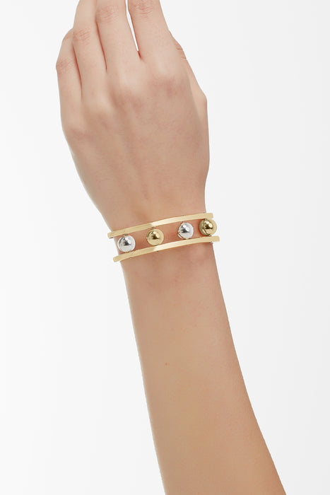 Two Tone Ball Bangle Rose Gold