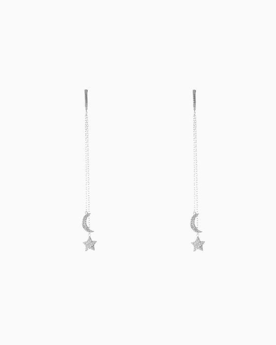 EARRING HOOP STAR MOON SILVER