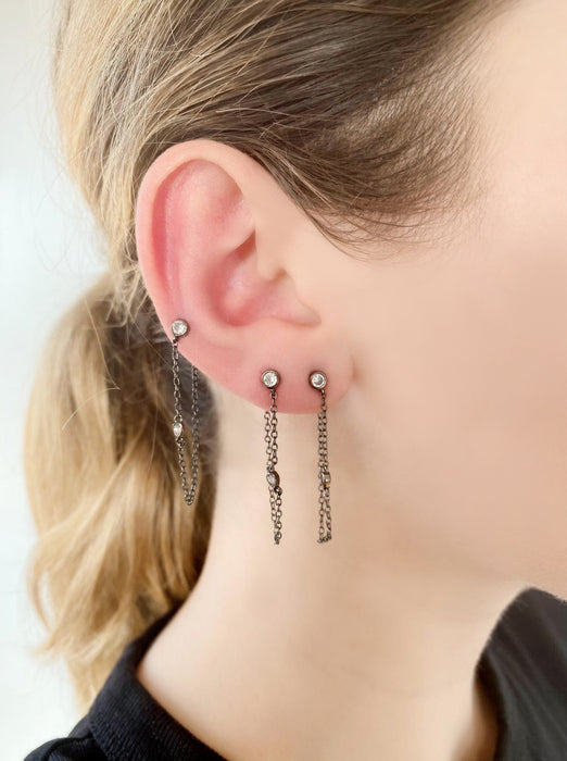Earring Line Rain Black