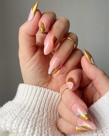 all chromed up almond nails