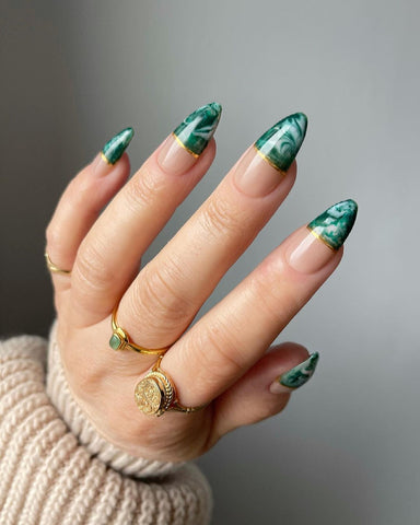 Green Marble Almond Nails